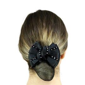 Eureka – Diamontes On Velvet Show Bow & Hair Net